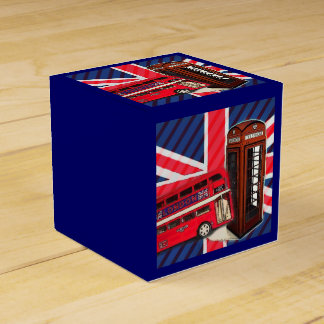 Retro Union Jack London Bus red telephone booth Favour Box