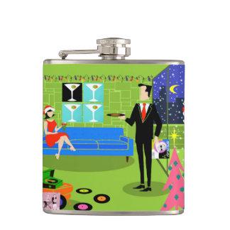 Retro Urban Christmas Couple Flask