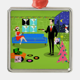 Retro Urban Christmas Couple Ornament