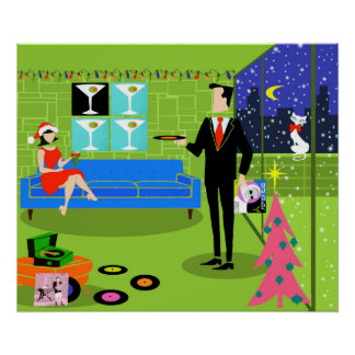 Retro Urban Christmas Couple Poster