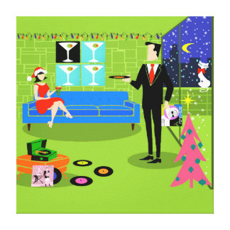 Retro Urban Christmas Couple Stretched Canvas Stretched Canvas Prints