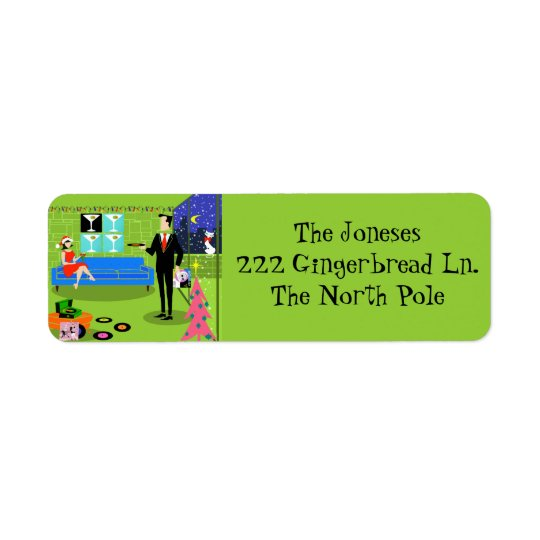 Retro Urban Christmas Return Address Labels
