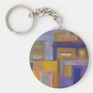 retro urban purple yellow abstract cityscape basic round button key ring