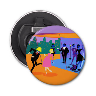 Retro Urban Rooftop Party Button Bottle Opener