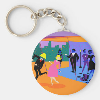 Retro Urban Rooftop Party Button Keychain