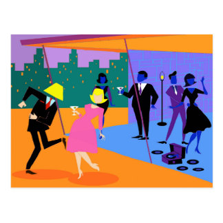 Retro Urban Rooftop Party Postcard