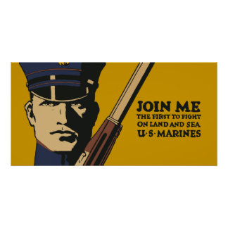 Retro US Marines, Join me Poster