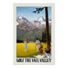 Retro Vail Valley Golfing Travel Poster