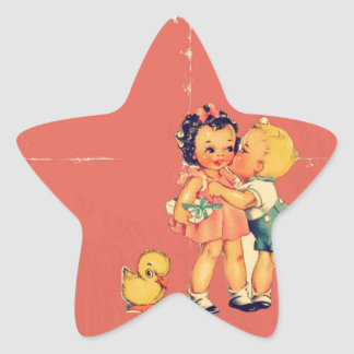 Retro Valentine Kitsch Vintage Kids Star Sticker