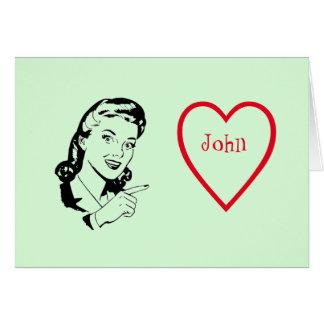 Retro Valentine's Day Love Customisable Greeting Card