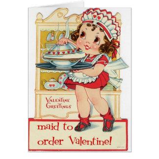 Retro Valentine's Day Maid Greeting Card