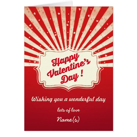 Retro Valentine's Day Note Card | Red