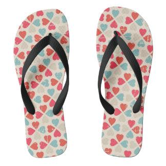 Retro Valentine's Day Pattern Flip Flops