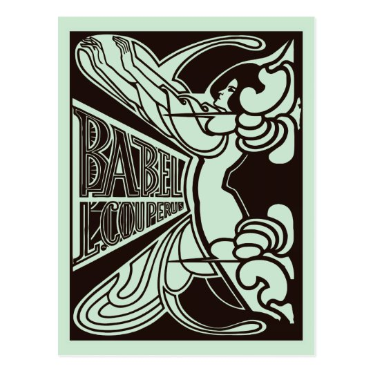 Retro vector art nouveau Babel Jan Toorop style Postcard
