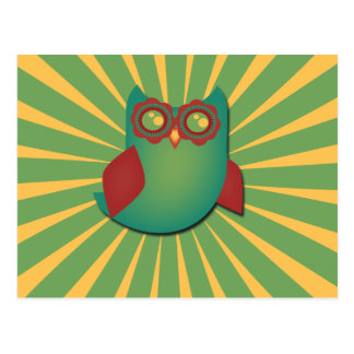 Retro Vector Owl Postcard