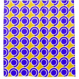 Retro vibe blue and orange pattern shower curtain