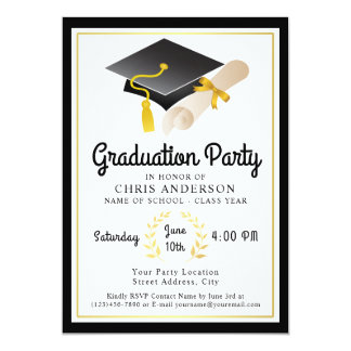 Retro Vibe Graduation Party Card