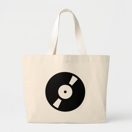 retro vinly record large tote bag