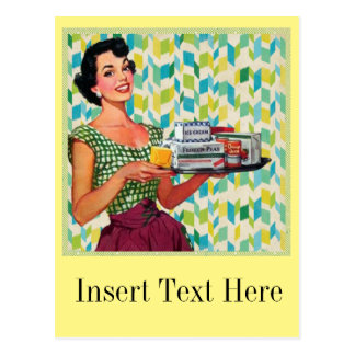 Retro Vintage 50's Housewife Holding Food Postcard