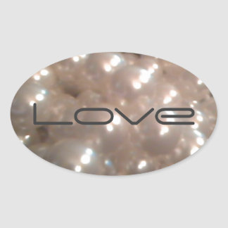 Retro Vintage Antique Pearls Elegant Love Oval Sticker