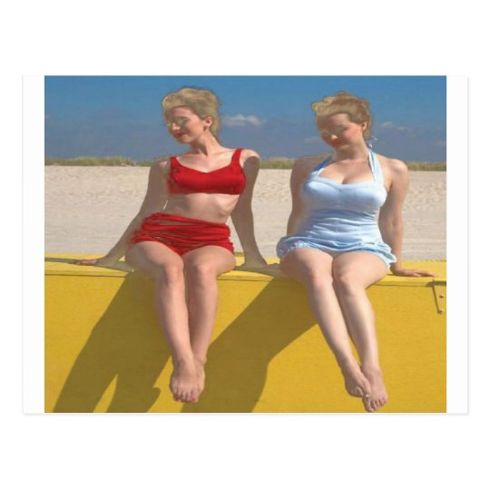 Retro Vintage Bathing Beauties Sitting on the Dock