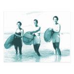 Retro Vintage Bathing Beauties Surfing Postcard