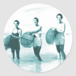 Retro Vintage Bathing Beauties Surfing Stickers
