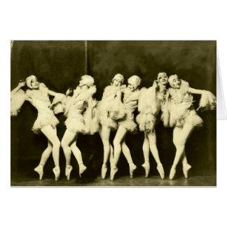 Retro Vintage Beautiful Dancing Women Ballet Dance Card