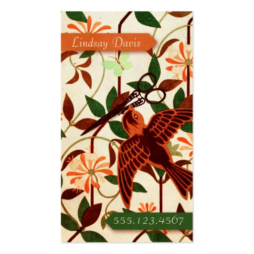 retro vintage bird floral hair stylist scissors business card template