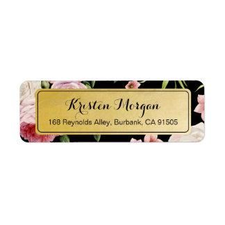 Retro Vintage Black and Gold Beautiful Floral Return Address Label