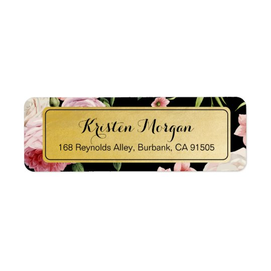 Retro Vintage Black and Gold Beautiful Floral Return