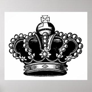Retro Vintage Black & White Beautiful Royal Crown Poster