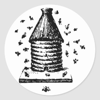 Retro Vintage Black & White Bee Hive & Bees Classic Round Sticker
