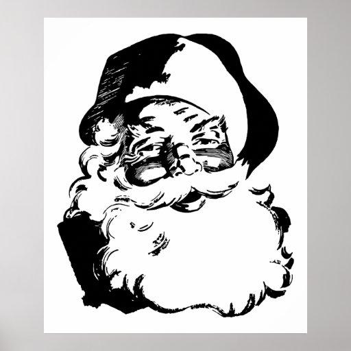 Retro Vintage Black & White Christmas Santa Claus Print
