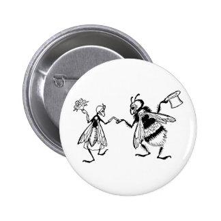 Retro Vintage Black & White Cute Funny Bug Wedding 6 Cm Round Badge
