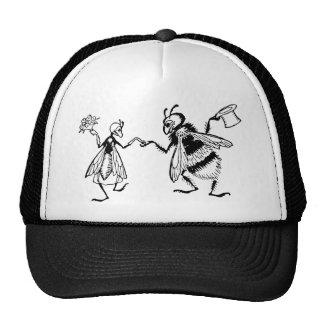 Retro Vintage Black & White Cute Funny Bug Wedding Trucker Hat