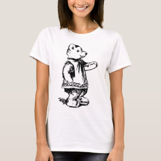Retro Vintage Black & White Cute Teddy Bear T-Shirt