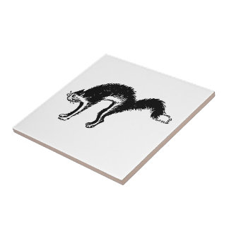 Retro Vintage Black & White Scared Arched Cat Small Square Tile
