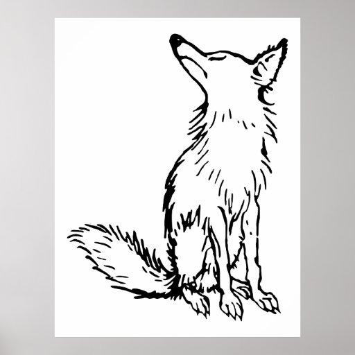 Retro Vintage Black & White Sly Fox Poster