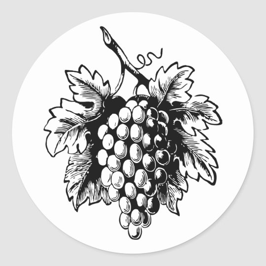 Retro Vintage Black & White Tasty Bunch of Grapes Classic Round Sticker