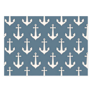 Retro Vintage Blue White Anchor Pattern Business Card