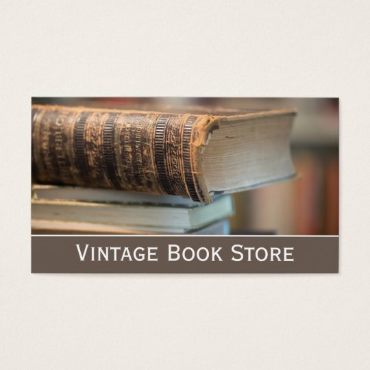 Retro, Vintage Book Store Photo - Business Card
