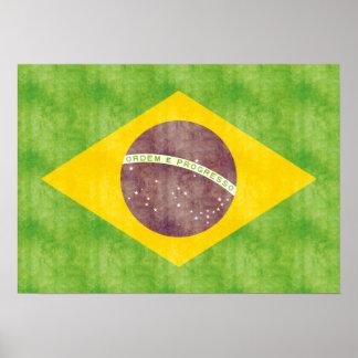 Retro Vintage Brazil Flag Poster