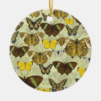 Retro Vintage Butterflies Pattern Round Ceramic Decoration