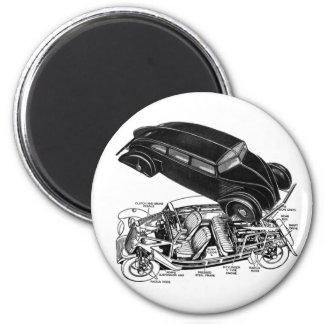 Retro Vintage Car 30 s Rear-Engine Futuristic Auto Magnets