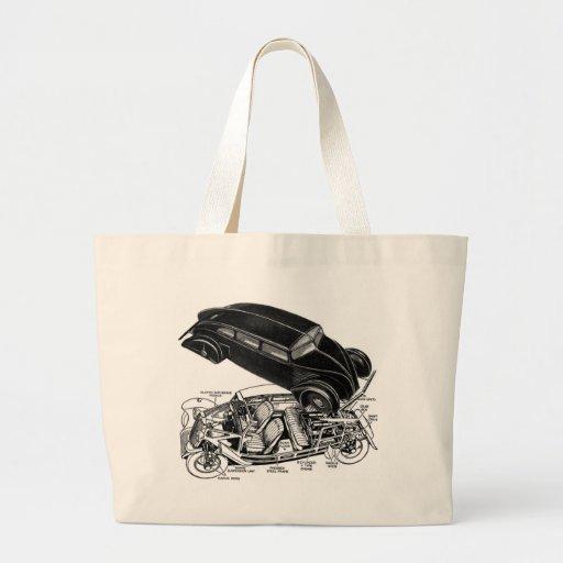 Retro Vintage Car 30's Rear-Engine Futuristic Auto Jumbo Tote Bag