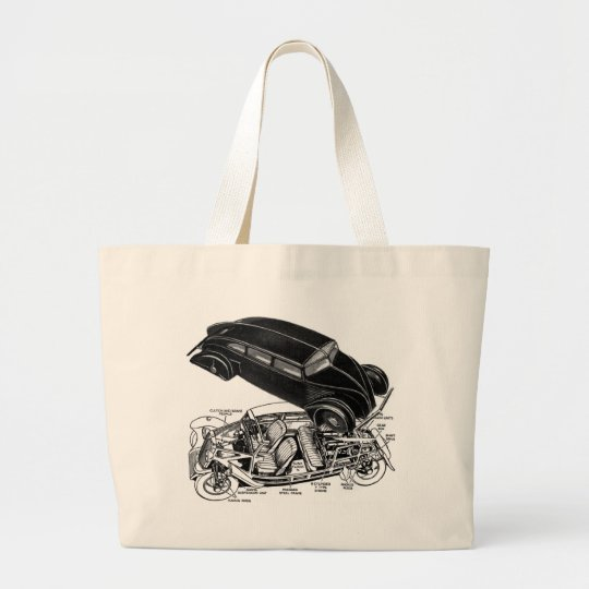 Retro Vintage Car 30's Rear-Engine Futuristic Auto Large Tote Bag