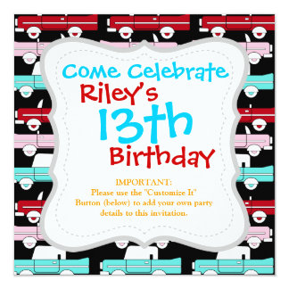 Retro Vintage Cars Pink Red Turquoise Blue Hot Rod 13 Cm X 13 Cm Square Invitation Card