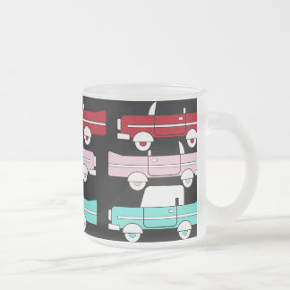 Retro Vintage Cars Pink Red Turquoise Blue Hot Rod Frosted Glass Mug
