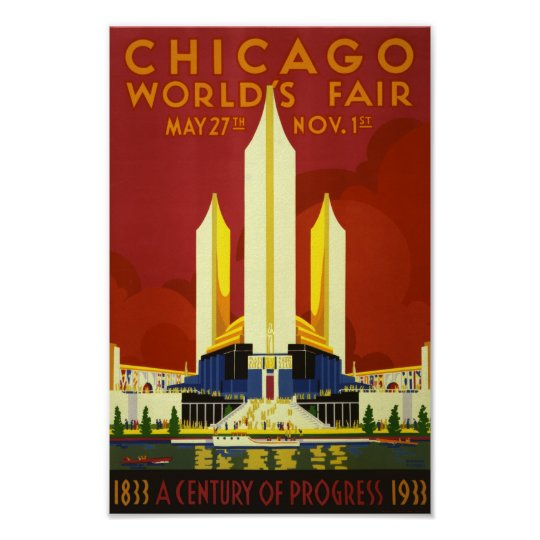 Retro Vintage Chicago World's Fair advert travel Poster